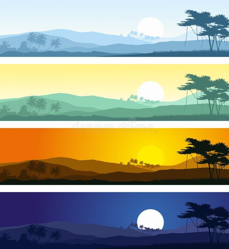 tropische berglandschaften in verschiedene tageszeiten vektor abbildung illustration von. Black Bedroom Furniture Sets. Home Design Ideas