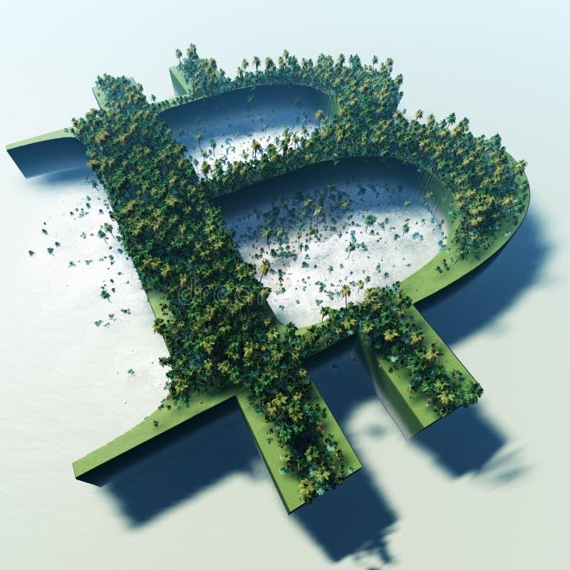 Tropische Bitcoin-Eilanden van de Lucht stock illustratie