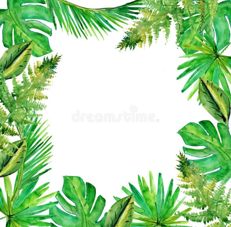Tropische Blätter Dekoratives Bild einer Flugwesenschwalbe ein Blatt Papier in seinem Schnabel stock abbildung