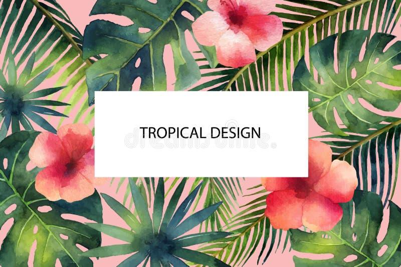 Tropische Blätter der Aquarellvektor-Fahne und heller Hibiscus blüht stock abbildung