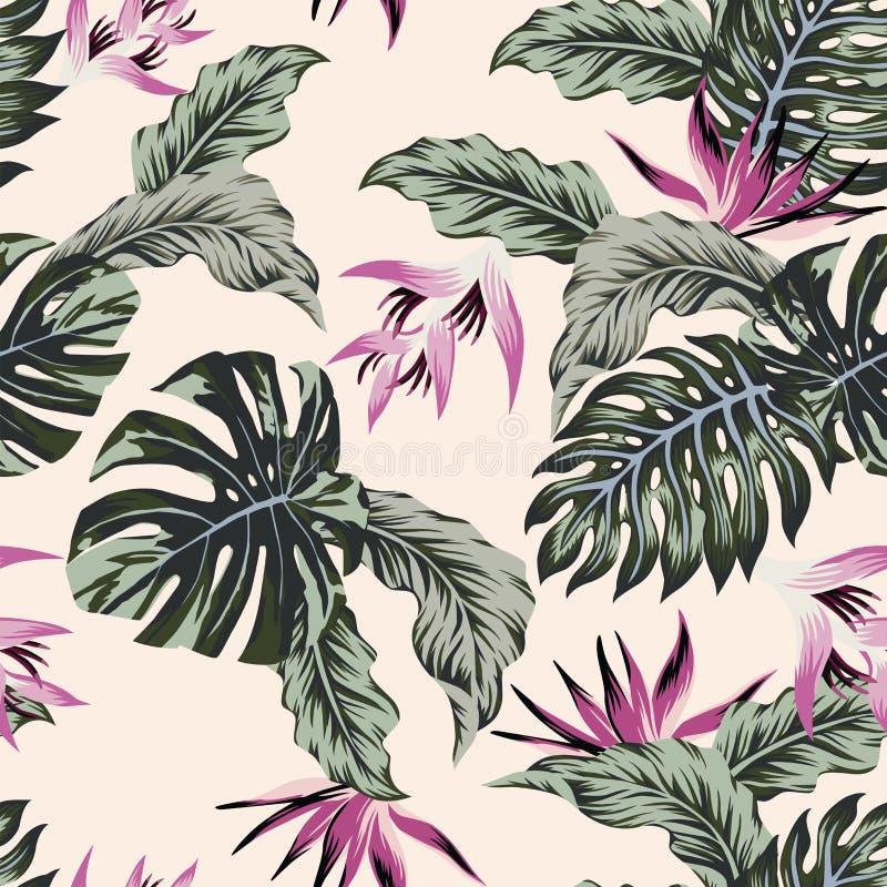 Tropische Blätter der exotischen Blumen grünen nahtloses hellrosa backgro vektor abbildung