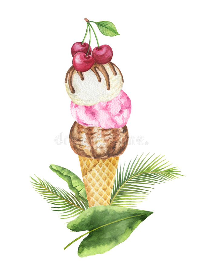 Tropische Blätter des Aquarells und Waffelkegel mit der Schokoladen-, Vanille- und FruchtEiscreme verziert mit Kirschen lizenzfreie abbildung