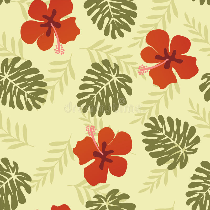 Tropische Blätter des hawaiischen Musters - Illustration vektor abbildung
