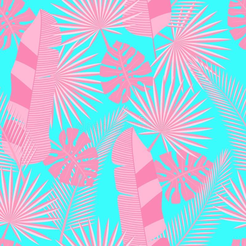 Tropische Blätter des nahtlosen Hintergrundes - Palme, monstera stock abbildung