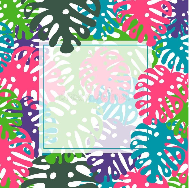 Tropische Blätter Schablone, Druck, Hintergrund des Vektors Modischer Entwurf des Sommers lizenzfreie abbildung