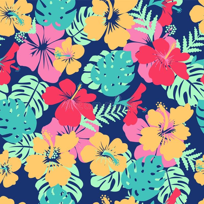Tropische Blätter und Blumenhibiscuse blühen Hawaii-Sommer backgr vektor abbildung