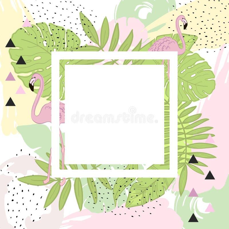 Tropische Blätter und Flamingo-Sommer Feld Fahne, grafischen Hintergrund, exotische Blumeneinladung, Flieger oder Karte lizenzfreie abbildung