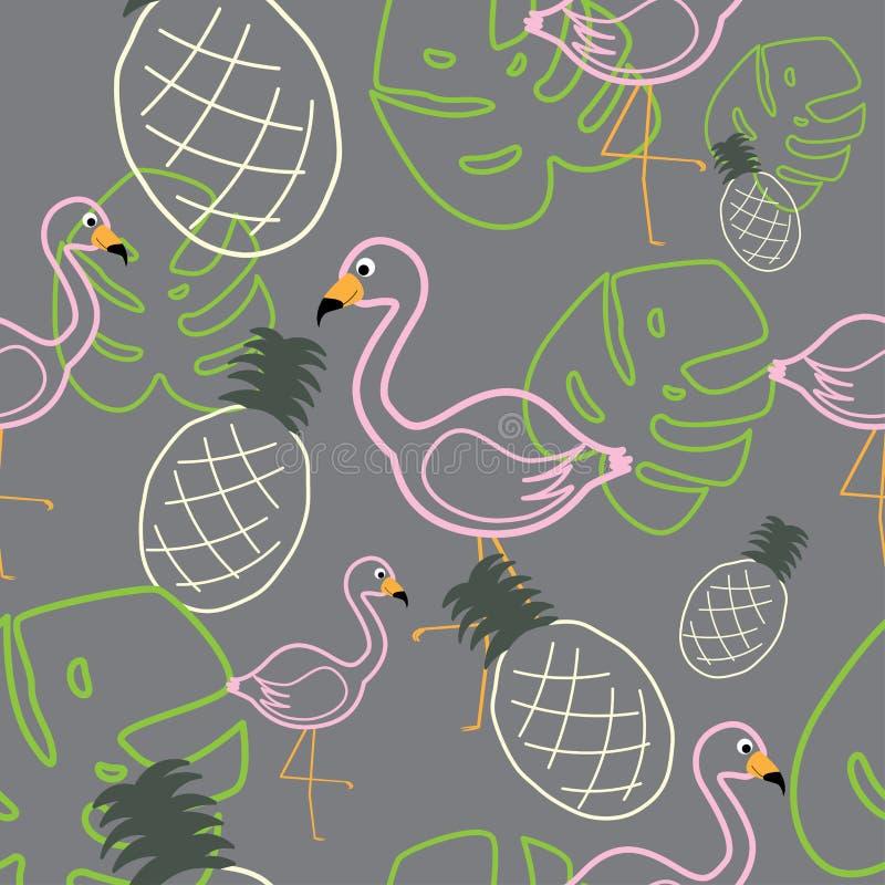 Tropische Blätter und Frucht mit nahtlosem Muster der Flamingovögel lizenzfreie abbildung