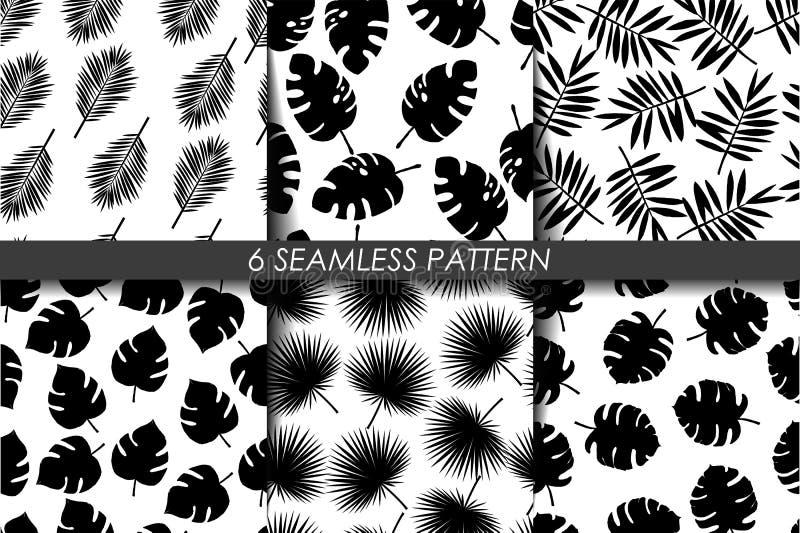 Tropische Bladeren De naadloze Reeks van het Patroon Vector Inzameling van zwart-wit het herhalen 6 patroon in monster Rebecca 36 royalty-vrije illustratie