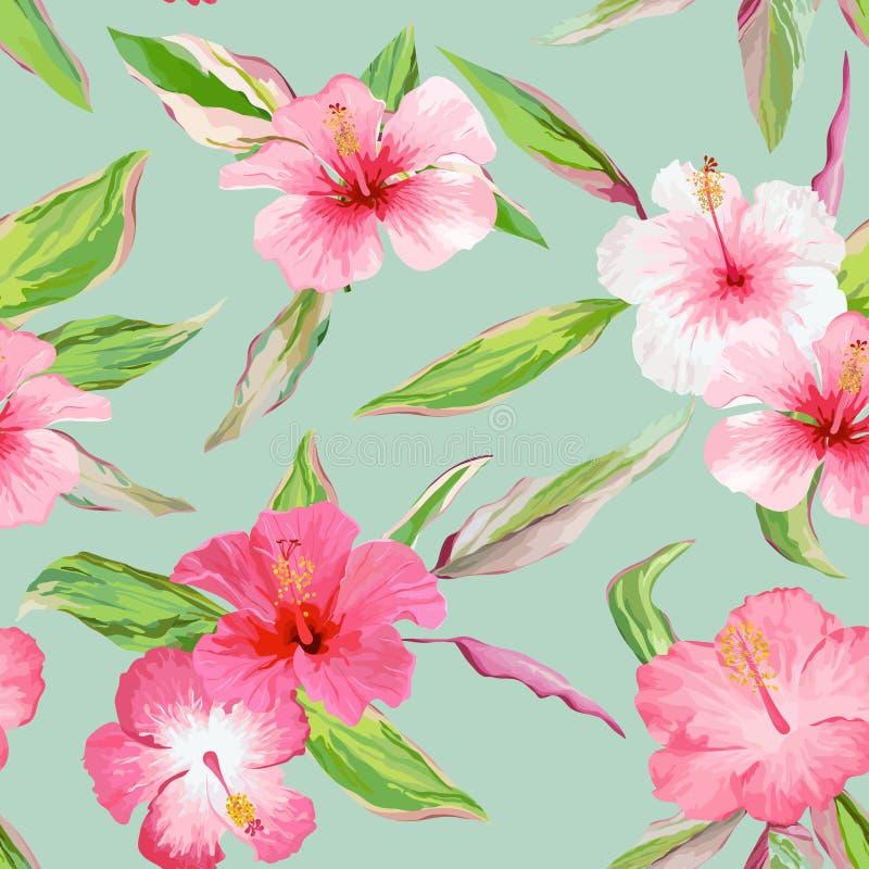 Tropische bladeren en bloemenachtergrond vector illustratie