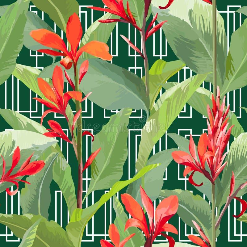 Tropische bladeren en bloemenachtergrond Naadloos patroon royalty-vrije illustratie