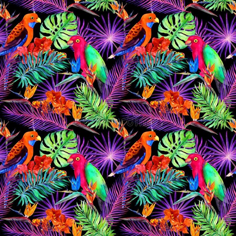 Tropische bladeren en exotische bloemen in neonlicht Naadloos uniek patroon Waterkleur stock fotografie