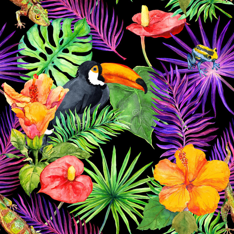 Tropische bladeren, exotische bloemen, toekanvogel, gekko Naadloos Behang watercolor stock illustratie