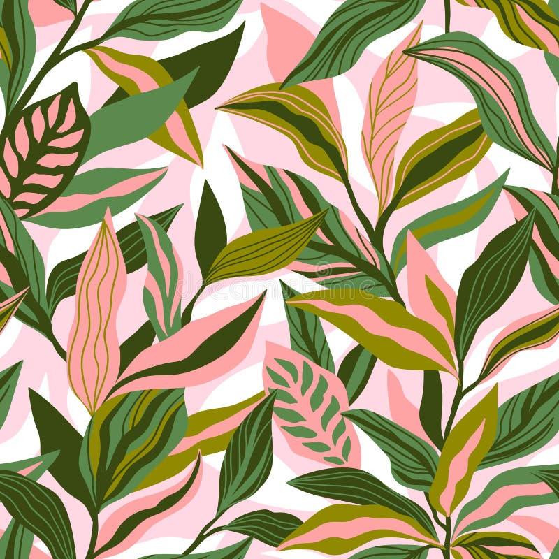Tropische bladeren met de hand getekend naadloos patroon Botanisch trendontwerp in roze en groene kleuren Vector herhalend ontwer stock illustratie