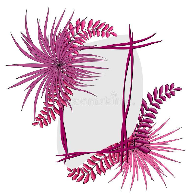 Tropische bladeren met kader Vector illustratie Eps 10 royalty-vrije illustratie