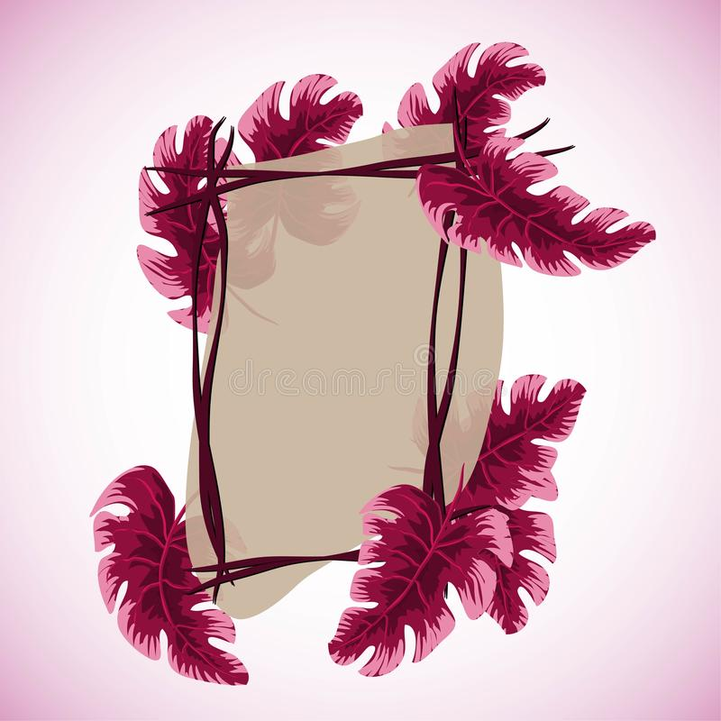Tropische bladeren met kader Vector illustratie Eps 10 vector illustratie