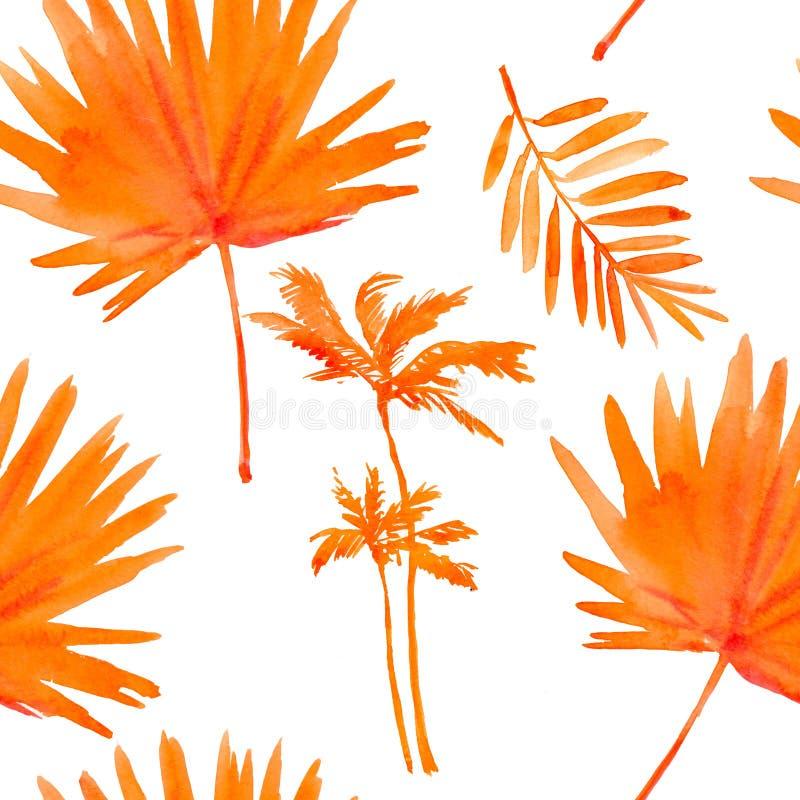 Tropische Bladeren Naadloze waterverfachtergrond royalty-vrije illustratie