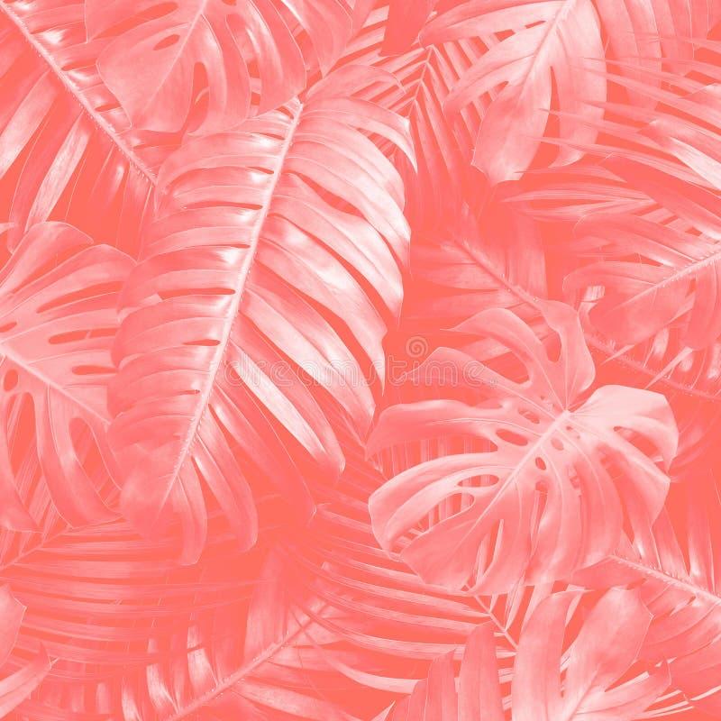 Tropische bladerenachtergrond met pantonekleur van het jaar 2019 het Leven Koraal royalty-vrije stock afbeelding