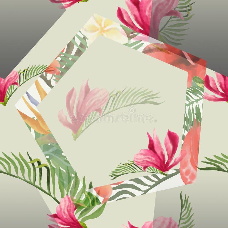 Tropische Bloemen en Bladeren Geometrische Achtergrond - Uitstekend Naadloos Patroon royalty-vrije illustratie