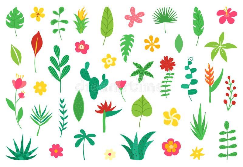 Tropische bloemen en bladereninzameling Exotische elementen voor de partij van het de zomerstrand Bloemen ontwerp dat op wit word royalty-vrije illustratie