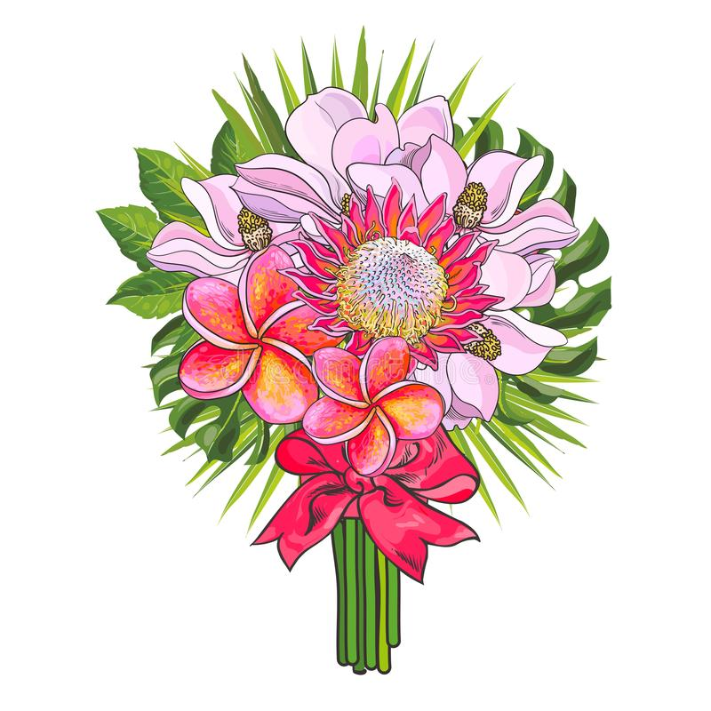 Tropische bloemen en groene palmbladen in boeket met roze die lint op witte achtergrond wordt geïsoleerd royalty-vrije illustratie