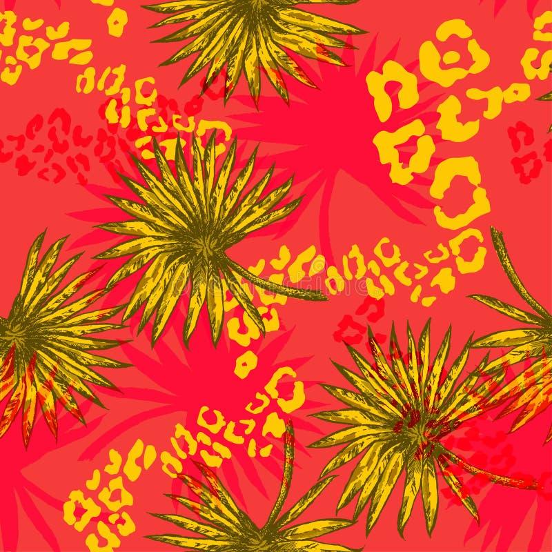 tropische Bloemen en Palm vector illustratie