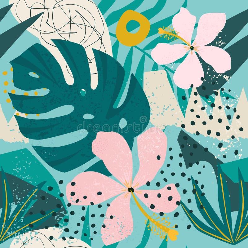 Tropische bloemen en palmbladen op achtergrond naadloos Vector patroon vector illustratie
