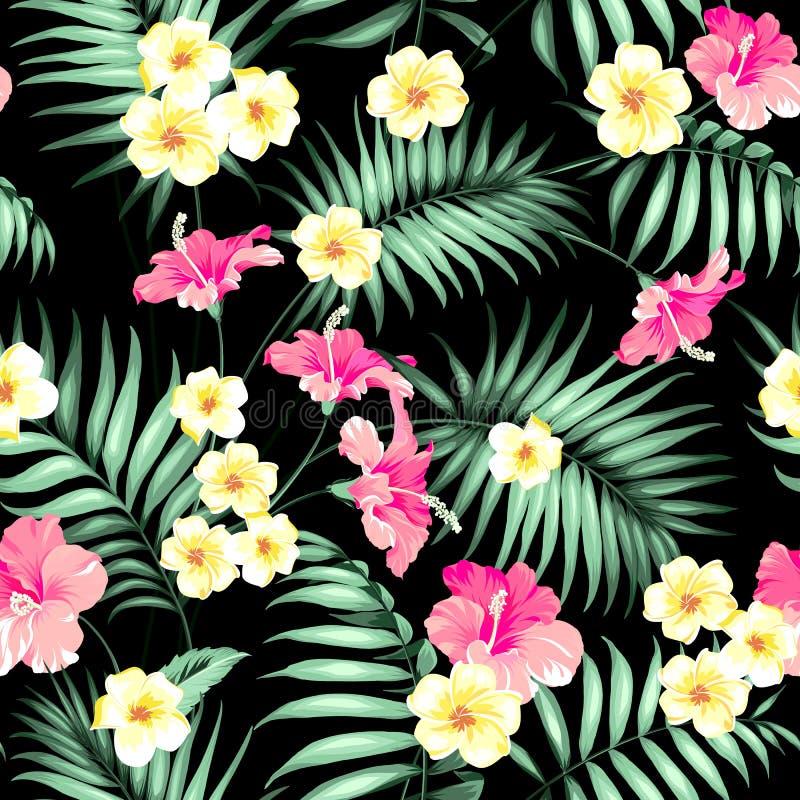 Tropische bloemen en wildernispalmen royalty-vrije illustratie