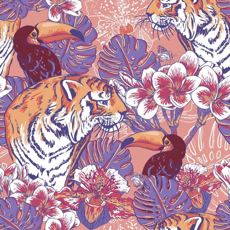Tropische bloemen naadloze achtergrond met Tijger stock illustratie