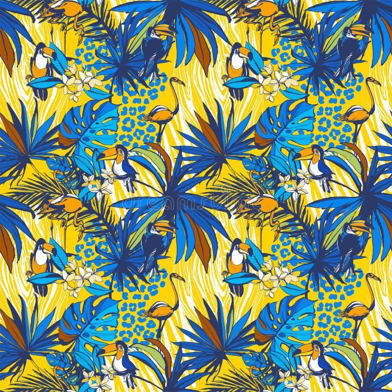 Tropische bloemen naadloze achtergrondpatroonpalmbladen, bloemen, vogels, luipaard stock illustratie