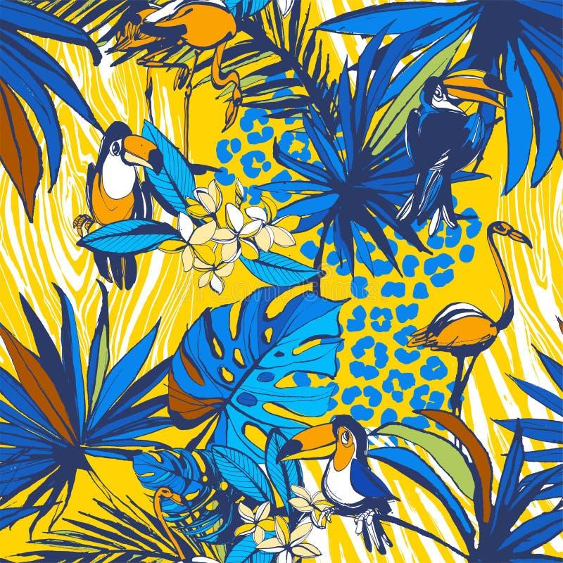 Tropische bloemen naadloze achtergrondpatroonpalmbladen, bloemen, vogels, luipaard royalty-vrije illustratie