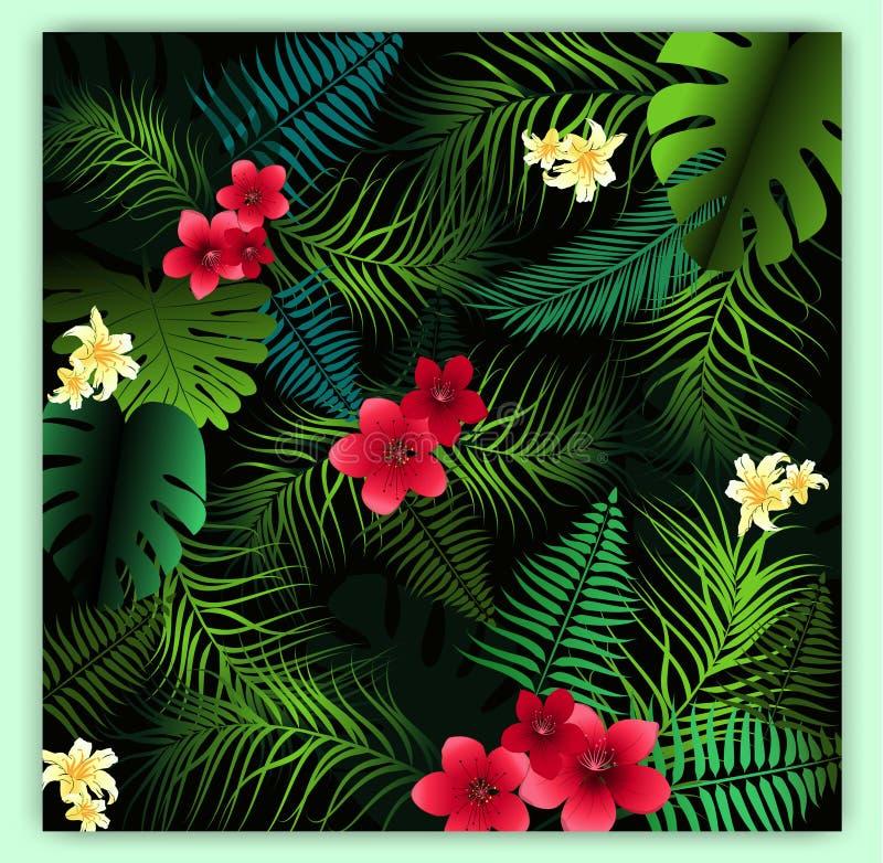 Tropische bloemen naadloze vectorpatroonachtergrond met exotisch F royalty-vrije illustratie