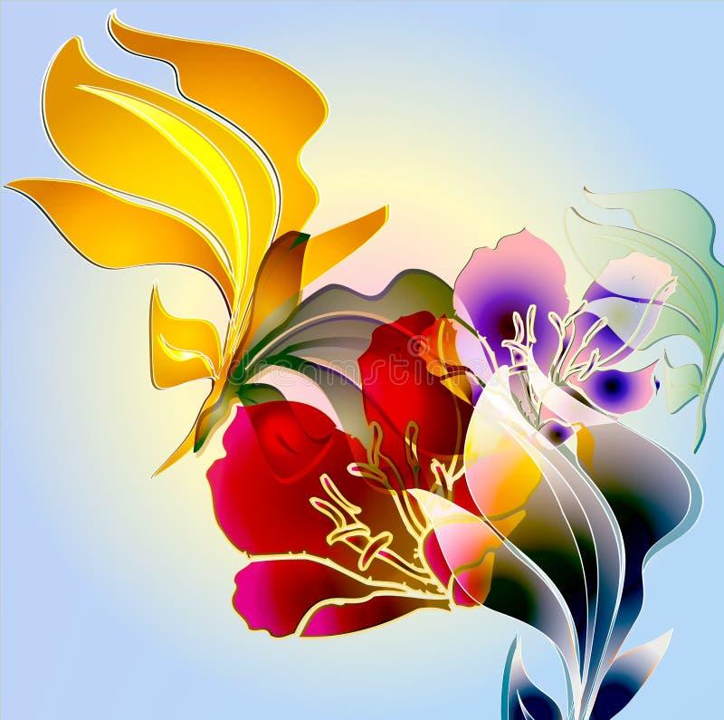 Tropische bloemen van Watercrest royalty-vrije illustratie