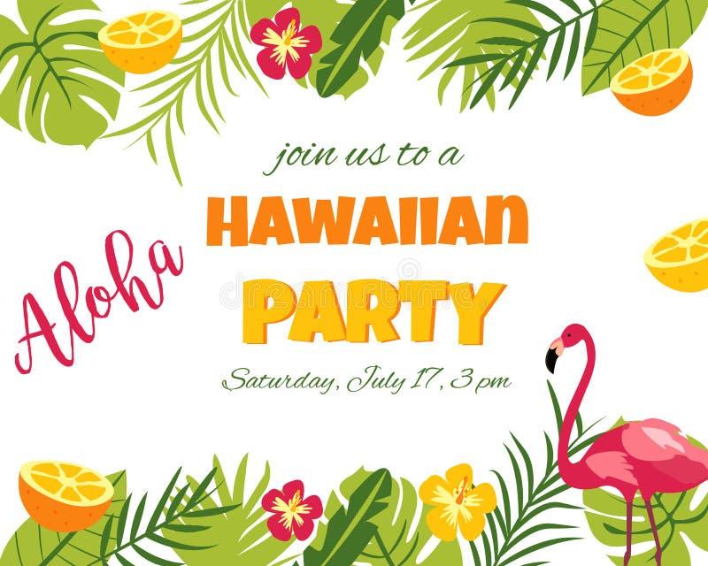 Tropische Bloemenaffiche met flamingo - voor Uitnodiging, Huwelijk, Partij royalty-vrije illustratie