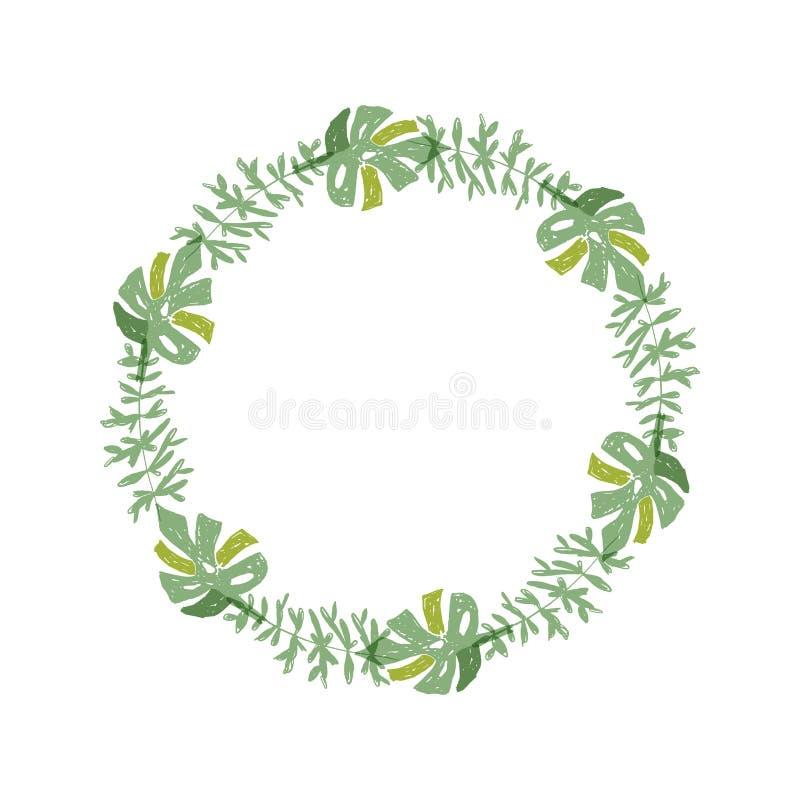 Tropische bloemsamenstelling, groenkroon royalty-vrije illustratie