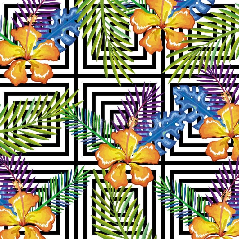 Tropische Blume mit Tischrechner des abstrakten Hintergrundes lokalisierte Ikone vektor abbildung