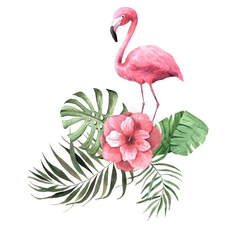 Tropische Blumen, Blätter und Anlagen und Flamingo des Aquarells vektor abbildung
