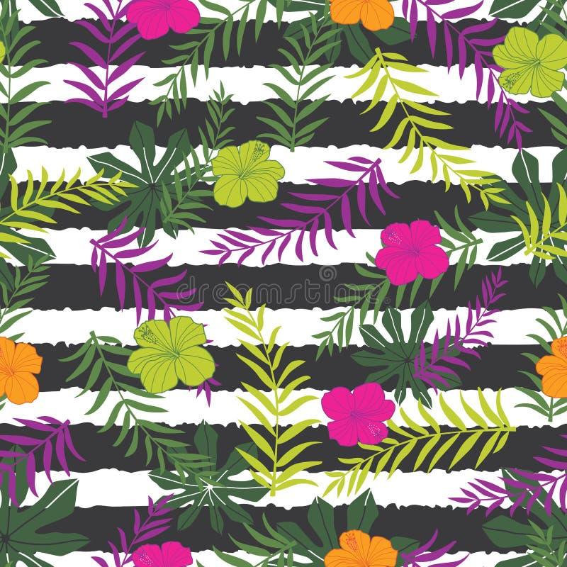 Tropische Blumen des Vektors und Farnblätter auf Streifenhintergrund Passend für Geschenkverpackung, -gewebe und -tapete lizenzfreie abbildung