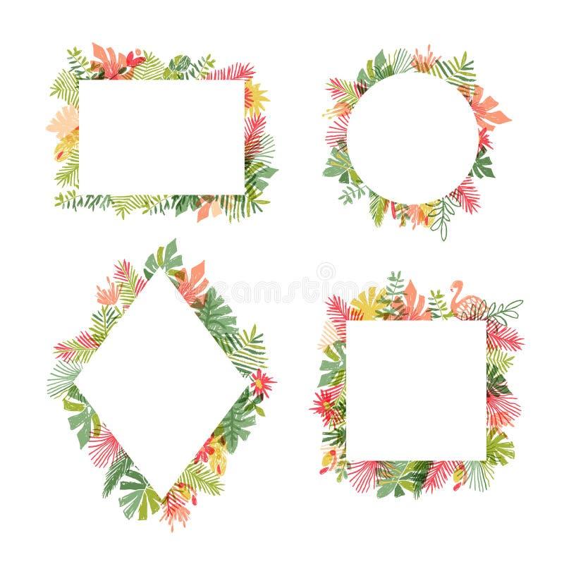 Tropische Blumen- und Flamingovogelrahmensammlung stock abbildung