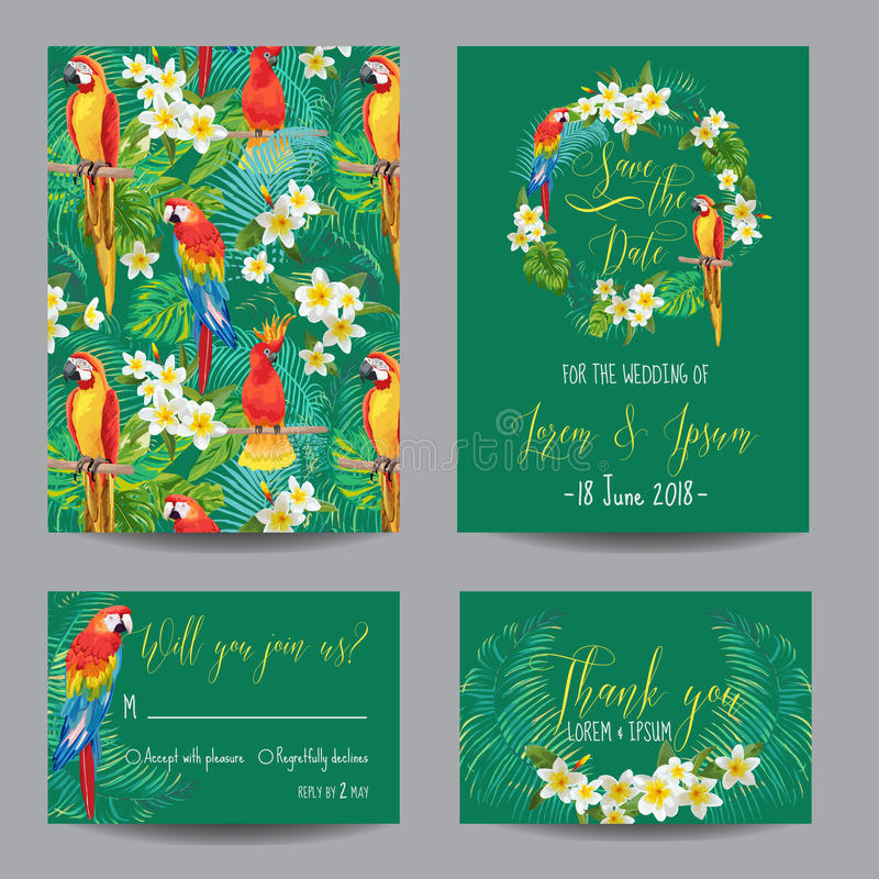 Tropische Blumen-und Vogel-Karten stock abbildung