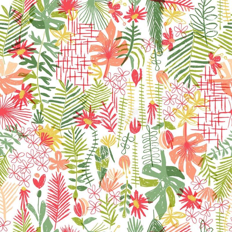 Tropische Blumenzusammensetzung, nahtloses Muster stock abbildung