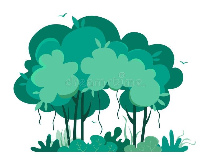 Tropische bomen, wildernis in beeldverhaalstijl r vector illustratie