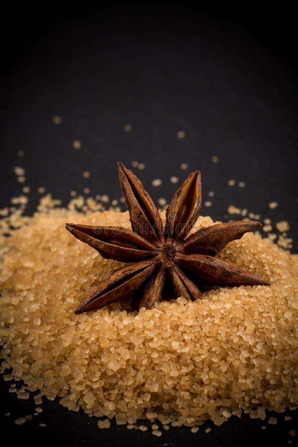Tropische bruine suiker, anijsplant stock foto's