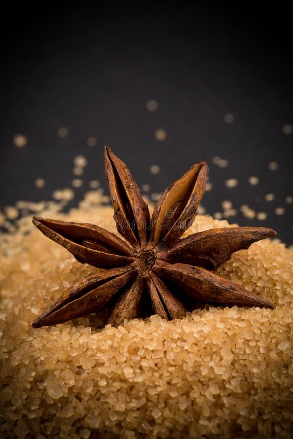 Tropische bruine suiker, anijsplant royalty-vrije stock foto