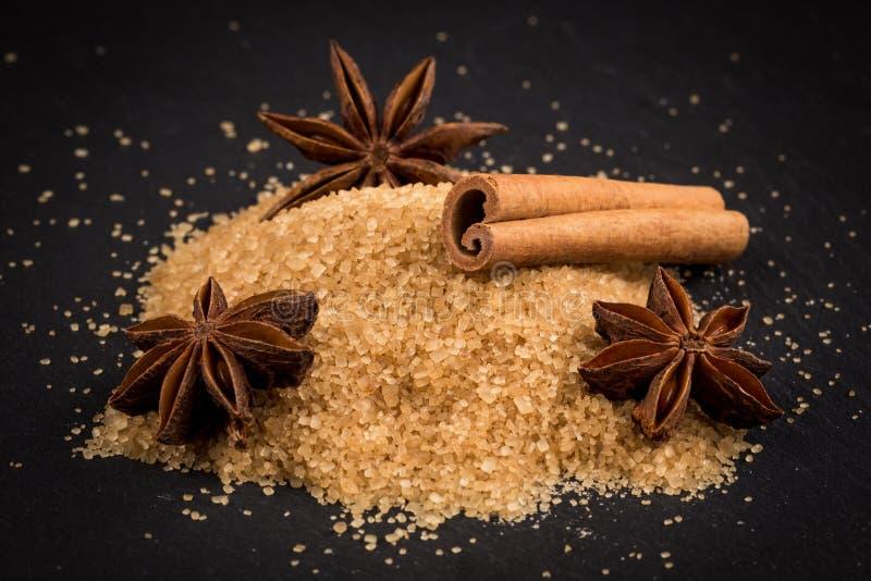 Tropische bruine suiker, anijsplant, kaneel royalty-vrije stock foto's