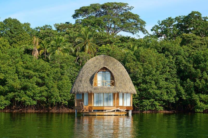 Tropische bungalow over water met stro bedekt dak stock foto's