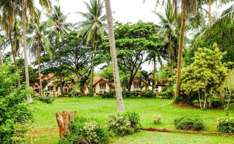 Tropische bungalowwen stock fotografie