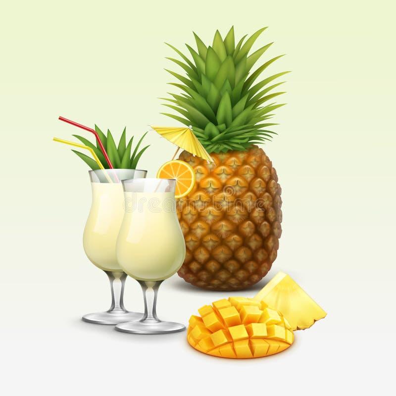 Tropische cocktails en vruchten royalty-vrije illustratie