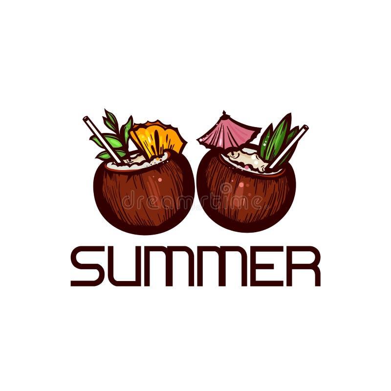 Tropische cocktails voor twee Exotische dranken in kokosnoot met ananas Getrokken hand stock illustratie