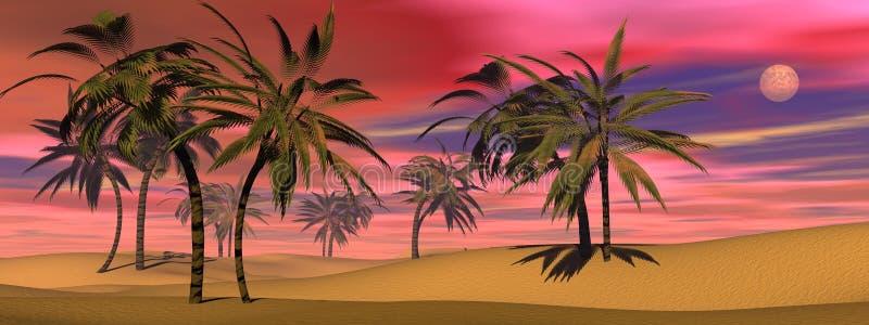 Tropische 3D zonsondergang - geef terug vector illustratie